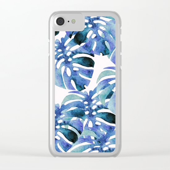 Monstera Pattern Blue Clear iPhone Case