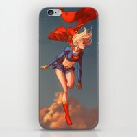 supergirl iPhone & iPod Skins featuring Supergirl II by Caleb Thomas