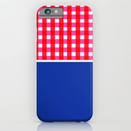 Red Blue: Gingham + Solid iPhone Case