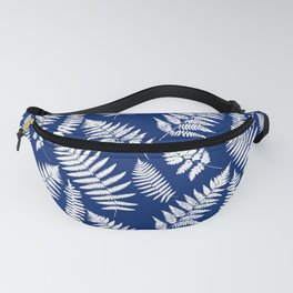 Woodland Fern Pattern, Cobalt Blue and White Fanny Pack