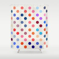 polka Shower Curtains featuring Polka Proton  by Picomodi
