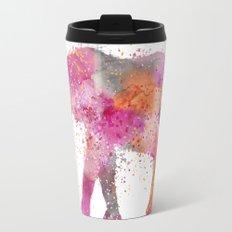 Artsy watercolor Elephant bright orange pink colors Travel Mug