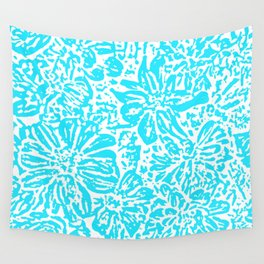 Marigold Lino Cut, Turquoise Wall Tapestry