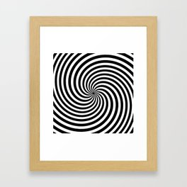 Black And White Op Art Spiral Framed Art Print
