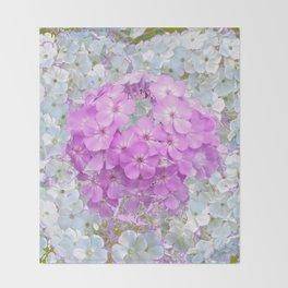 LILAC & WHITE PHLOX FLOWERS Throw Blanket