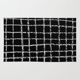 Black and white grid abstract minimal gridded pattern gifts basic nursery home decor Rug