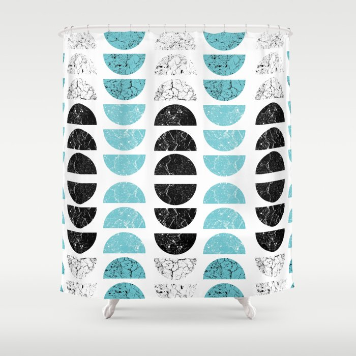 Marble Half Moons In Tiffany Blue Shower Curtain