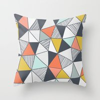 triangles Throw Pillows featuring Triangles by Patterns and Textures