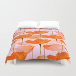 Orange Poppies On A Pink Background #decor #society6 #buyart Duvet Cover