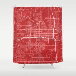 Lansing Map, USA - Red Shower Curtain