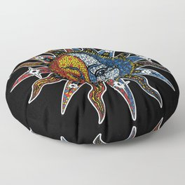 Celestial Mosaic Sun and Moon Floor Pillow