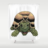 tortoise Shower Curtains featuring Happy Tortoise by Ken Coleman