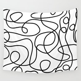 Doodle Line Art | Black on White Wall Tapestry