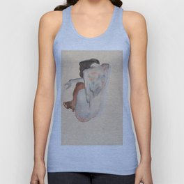 Crouching Nude in Shoes and Black Stockings, Back View - Egon Schiele Unisex Tank Top