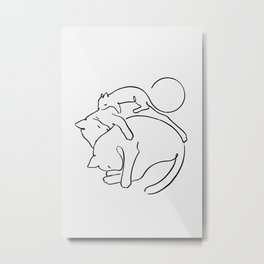 Cats line art 1 Metal Print