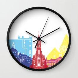 Vaduz skyline pop Wall Clock