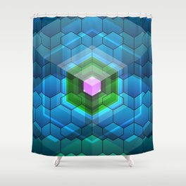 Contemporary abstract honeycomb, blue and green graphic grid with geometric shapes Shower Curtain