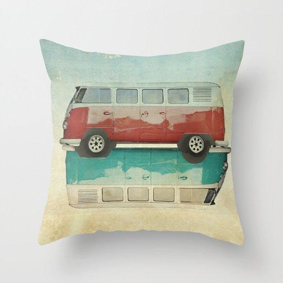 VW Kombi Ying and Yang Throw Pillow