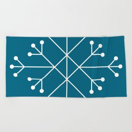 Mod Snowflake Teal Beach Towel