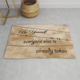 Be Yourself Quote, Birds on Wire Empowering Words Girls Room Art A636 Rug