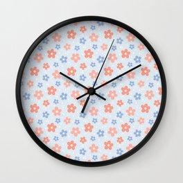 Blue Pink Flower Pattern Wall Clock