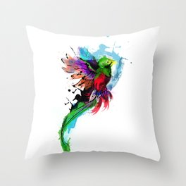 Watercolor Quetzal  Throw Pillow