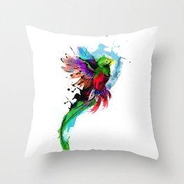 Watercolor Quetzal  Throw Pillow