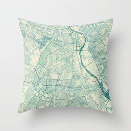 Delhi Map Blue Vintage Throw Pillow