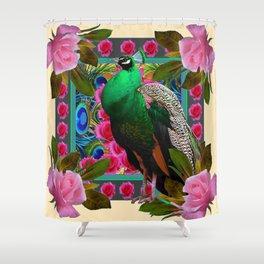 GREEN PEACOCK & PINK ROSE  FLOWERS CREAM ART Shower Curtain