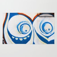 grafitti Area & Throw Rugs featuring Grafitti Face by Leslie Philipp