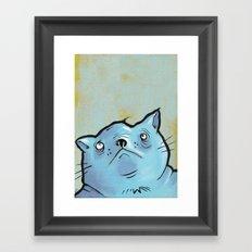 Sad Fat Cat Framed Art Print