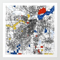 kansas city Art Prints featuring Kansas city mondrian map by Mondrian Maps