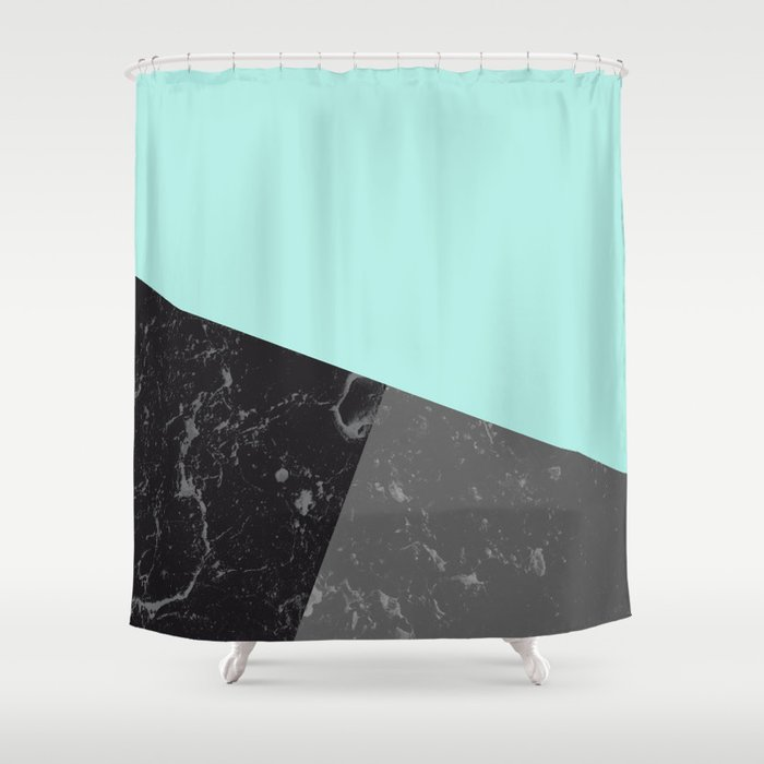 Marble Geometric Bright Mint Gray Black 6 Decor Art Society6 Shower Curtain By Anitabellajantz