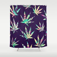 cannabis Shower Curtains featuring Merry Cannabis by GypsYonic