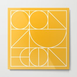 Modern Geometric 77 Yellow Metal Print