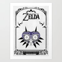 legend of zelda Art Prints featuring Zelda legend - Majora's mask by Art & Be