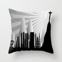 rio de janeiro Throw Pillows featuring Rio de Janeiro skyline by siloto