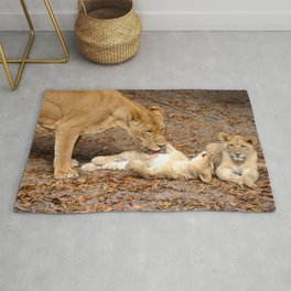Bath Time for Lion Rug