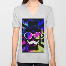 old vintage funny skull art portrait with painting abstract background in pink blue yellow green Unisex V-Neck