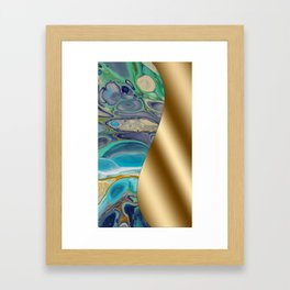 Gold Metal Print - Turquoise Fluid Art Design Framed Art Print
