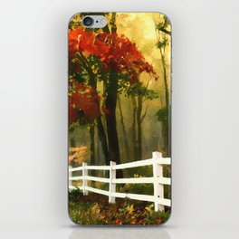 Fall scene with fence iPhone Skin
