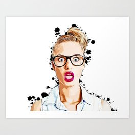 WOW Face Surprised Woman with Black Glasses and Open Mouth,  Pop-Art  Art Print