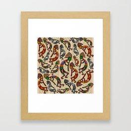 Kokopelli Rainbow Colors on Tribal Pattern  Framed Art Print