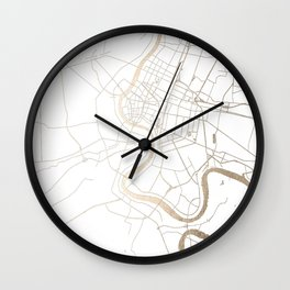 Bangkok Thailand Minimal Street Map - Gold Metallic and White IV Wall Clock