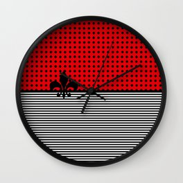 Cherry Red -  Dots and Lines Wall Clock