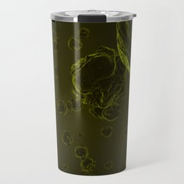 Abstract yellow virus cells Travel Mug