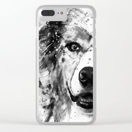 Australian Shepherd Dog Half Face Portrait Clear iPhone Case