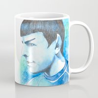 spock Mugs featuring Spock by Maria Bruggeman