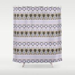 Purple light striped ornament Shower Curtain