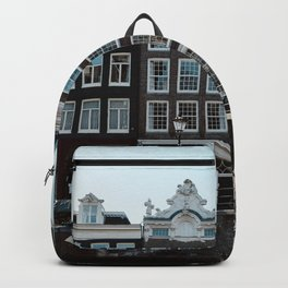Amsterdam architecture | Travel photography | Buildings and the canals | The Netherlands | Art Print Backpack